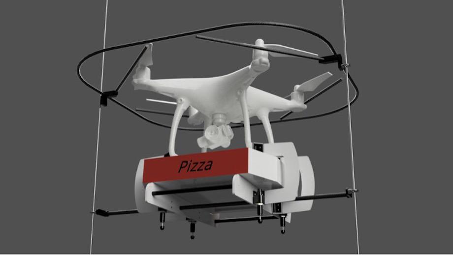 ピザを運ぶドローン